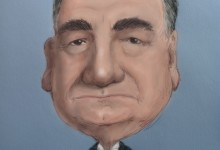 Caricature of Carson the Butler in Downton Abbey played by actor Jim Carter