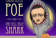 Celebrity Caricature: Edgar Allen Poe in his Halloween shark costume. Trick or Treat!