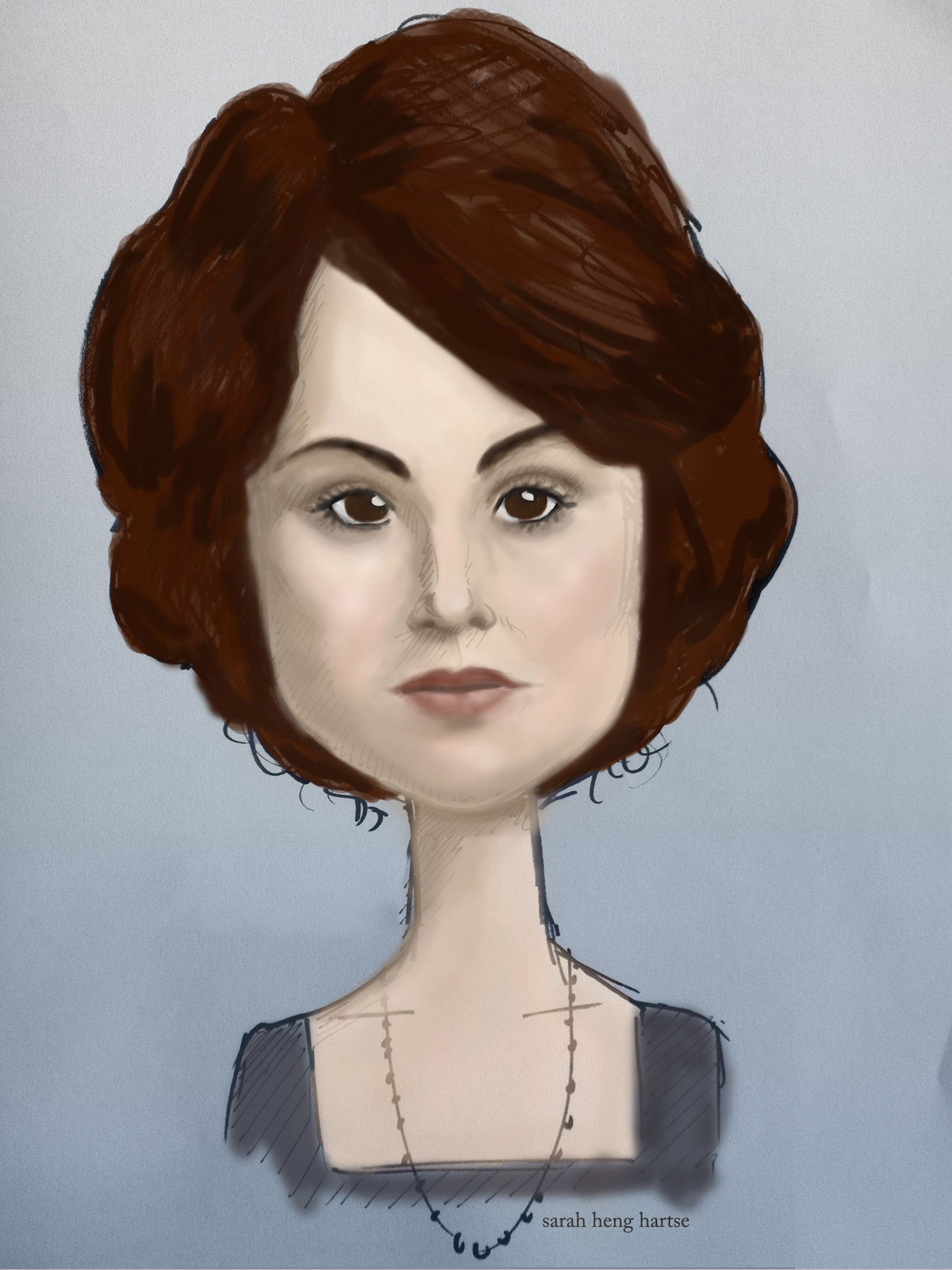 Caricature of Downton Abbey's Lady Mary Crawley played by Michelle Dockery