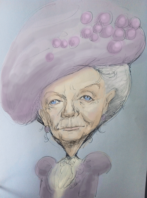 Caricature of Downton Abbey Dowager Countess of Grantham Violet Crawley, played by Dame Maggie Smith