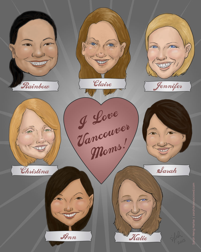 Caricature of moms in Vancouver BC Canada