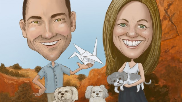 Commissioned caricature: Kevin & Jennifer Box - Outside The Box Studio