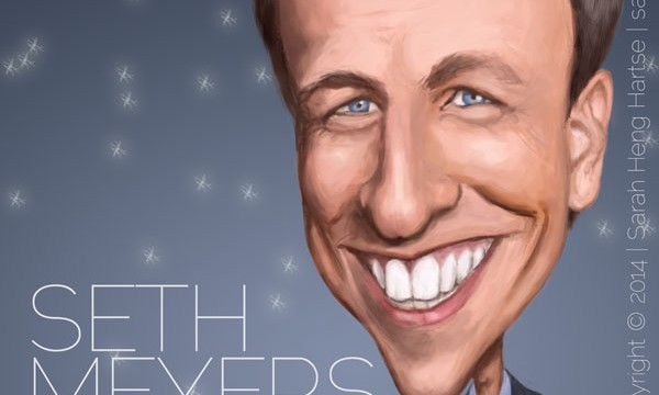 Celebrity caricature Seth Meyers Late Night NBC SNL
