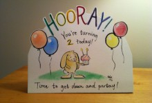 Bunny birthday card for a two year old