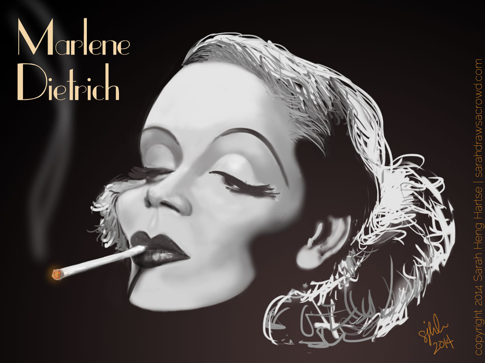 Marlene Dietrich smoking celebrity caricature