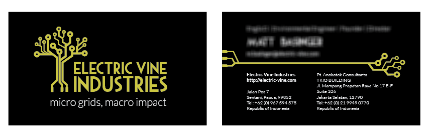 Front & Back of business card.