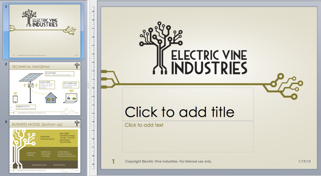 Powerpoint template with custom diagrams at left
